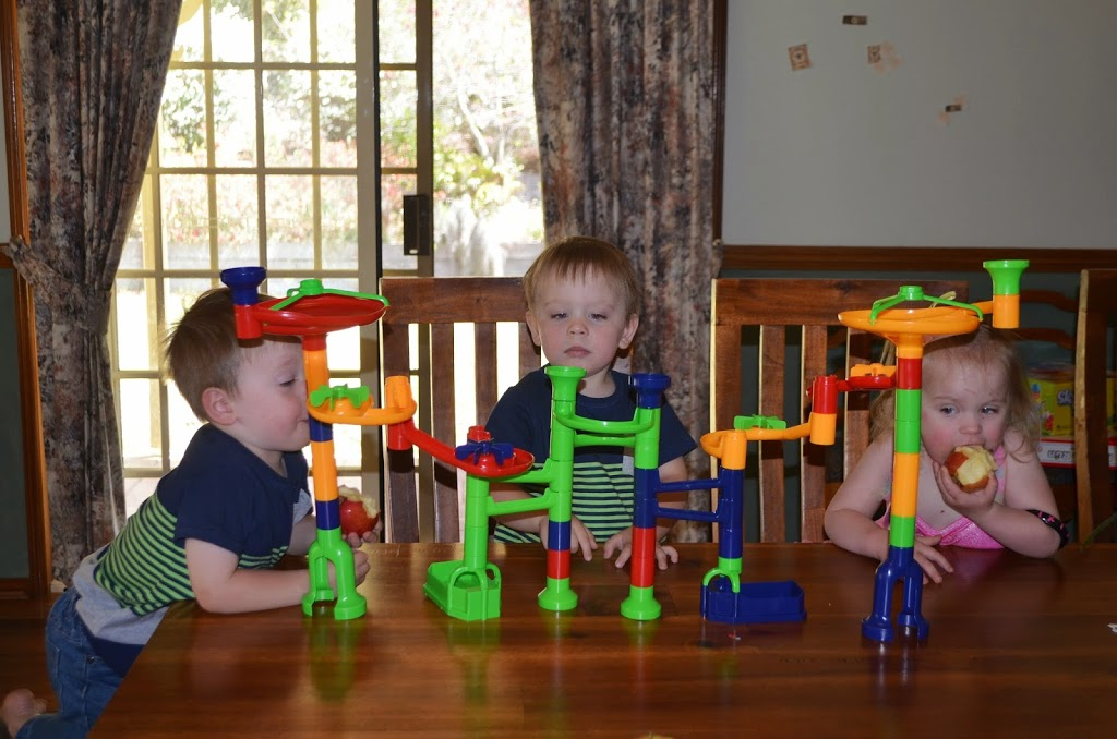 Triplets third birthday marble run