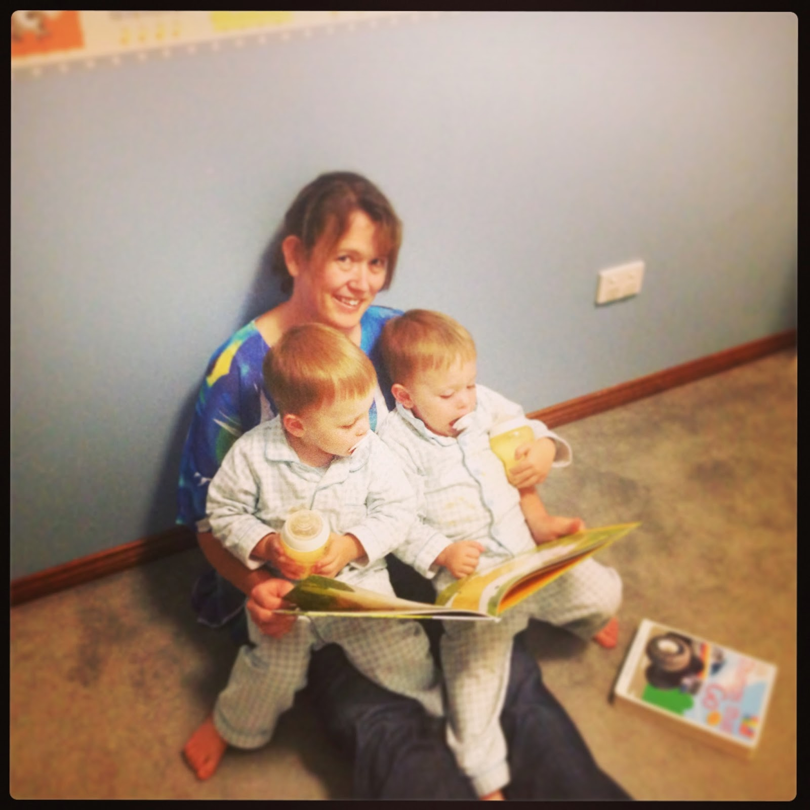 Two Year Old Triplets Routine includes reading stories.