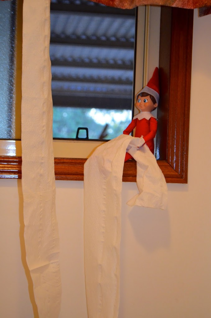 Elf on the Shelf with toilet paper